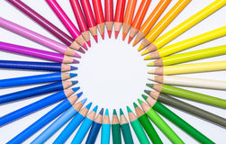 Circle with Colorful Crayons Stock Photos