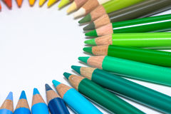 Circle with Colorful Crayons Stock Images