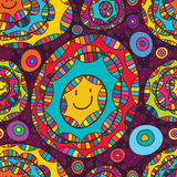 Circle colorful cute face seamless pattern Stock Image