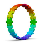 Circle of colorful jigsaw puzzles. On white background Royalty Free Stock Images