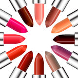 Circle of colorful lipstick with free space in the center for your text. Beauty and fashion background. Vector illustration Royalty Free Stock Image