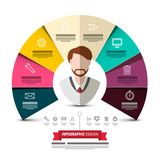 Circle Colorful Papers Vector Infographic Design. With Business Man Avatar and Icons. Data Flow Concept Web Graphic Design royalty free illustration