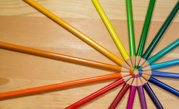 Circle of colorful pencils rainbow order on wooden table Royalty Free Stock Photography