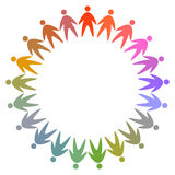 Circle of colorful people pictogram Stock Photos
