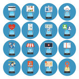 Circle Colorful Smartphone Concept Icons. Isometric style. Stock Image