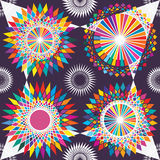 Circle colorful tribal symmetry seamless pattern Royalty Free Stock Images