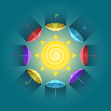 Circle of colorful umbrellas under the sun vector. Circular arrangement of color under the sun schontov enyu on a blue background stock illustration