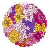 A circle of colorfull flowers. Roses, lilies, pansies, phloxes. Vector illustration. A circle of colorfull flowers. Roses, lilies, pansies phloxes Vector Stock Photo