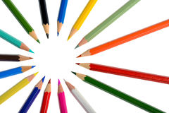 A circle of coloring crayons isolated Royalty Free Stock Image