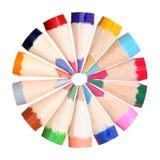 Circle of coloring pencils Stock Photo