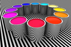 Circle of colors. Paint color metal can 3d image background Stock Image