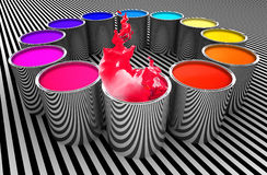 Circle of colors. Paint color metal can 3d image background Royalty Free Stock Images