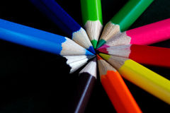 Circle of colour. Ed pencils Royalty Free Stock Photo