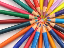Circle of Colour Pencils. Colour pencils arranged in a circular form royalty free stock image