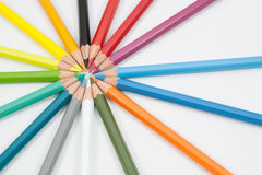 Circle colour pencils Stock Photos