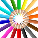 Circle of coloured pencils Royalty Free Stock Photos