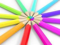 Circle of coloured pencils. Royalty Free Stock Photos