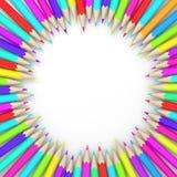 Circle of coloured pencils. Stock Photo