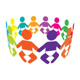 Circle of Colourful Babies. Colourful Babies holding hands in a circle Stock Photography