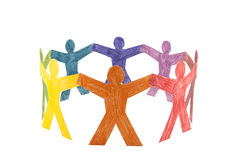 Circle of colourful people Stock Images