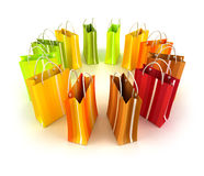 Circle of colourful striped shopping bags Stock Photo