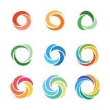 Circle company logo signs set stock photos
