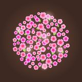 Circle Composed of Pink Flower Silhouettes. Stock Image