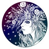 Circle composition of a girl with flowers in hair. vector illustration