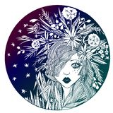 Circle composition of a girl with flowers in hair. stock illustration