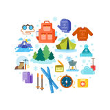 Circle composition of winter hiking flat icons Royalty Free Stock Images