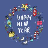 Circle concept with different New Year and Christmas decorations and hand drawn lettering. Vector illustration vector illustration
