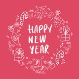 Circle concept with different New Year and Christmas decorations and hand drawn lettering. Vector illustration royalty free illustration