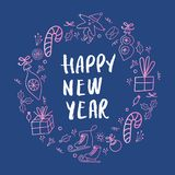 Circle concept with different New Year and Christmas decorations and hand drawn lettering. Vector illustration stock illustration