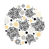 Circle concept with husky dog head stylized Maori face. Tattoo, circles and stars. Vector design element for oriental concept, tattoo studio. Isolated on Royalty Free Stock Photo