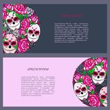 Circle concept with Sugar skull and pink roses. Day of the dead Dia de los muertos. Happy Halloween. Text copy frame template. Vector Stock Images