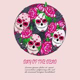 Circle concept with Sugar skull and pink roses. Day of the dead Dia de los muertos. Happy Halloween. Text copy frame template. Vector Stock Photography