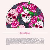 Circle concept with Sugar skull and pink roses. Day of the dead Dia de los muertos. Happy Halloween. Text copy frame template. Vector Stock Image