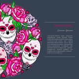 Circle concept with Sugar skull and pink roses. Day of the dead Dia de los muertos. Happy Halloween. Text copy frame template. Vector Royalty Free Stock Photos