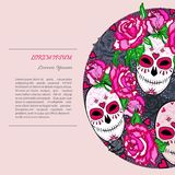 Circle concept with Sugar skull and pink roses. stock illustration