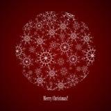 Circle consisting of snowflakes. Vector circle consisting of snowflakes on dark red background Stock Image