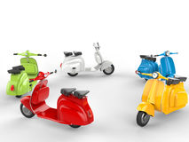 Circle of cool mopeds - top side view Royalty Free Stock Photo