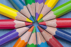 Circle of crayons. Foreground of some crayon mines forming a circle Royalty Free Stock Photography