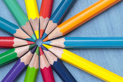 Circle of crayons. Foreground of some crayon mines forming a circle Stock Photo