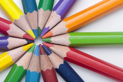 Circle of crayons. Foreground of some crayon mines forming a circle Stock Photography