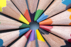 Circle of crayons. Foreground of some crayon mines forming a circle Royalty Free Stock Photos
