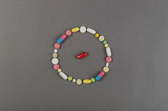 Circle created from colored pills. Medical concept Royalty Free Stock Photos