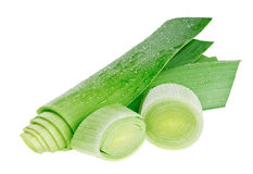 Circle cross-section and stem of green leek Royalty Free Stock Images