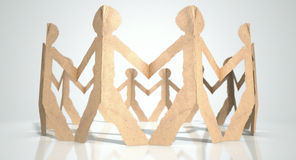 Circle Of Cutout Paper Cardboard Men Royalty Free Stock Photos