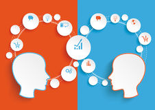 Circle Cycle 2 Heads Blue Orange Infographic Stock Images