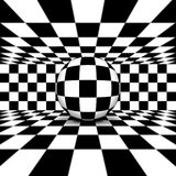 Circle 3D within checkered. Marble floor stock illustration
